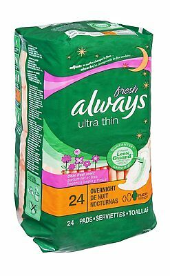 Always Fresh Ultra Thin Flex-Wings Overnight Pads 24 CT (Pack of 6)