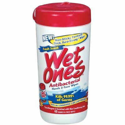 Wet Ones Antibacterial Moist Towelettes Hand And Face Wipes (Pack of 20)