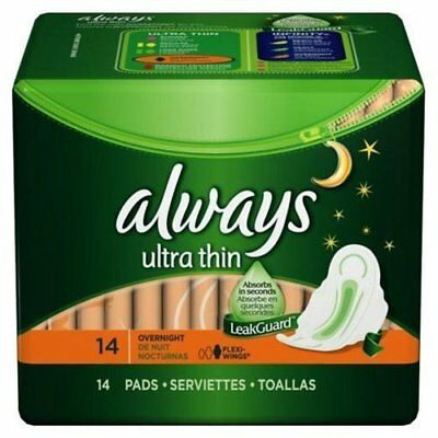 Always Ultra Thin Pads Overnight With Wings Unscented 14 CT (Pack of 24)