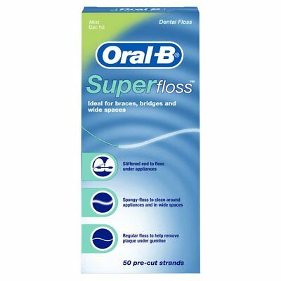 Oral-B Super Floss Pre-Cut Strands Dental Floss, Mint, 50 Count, 6 Pack