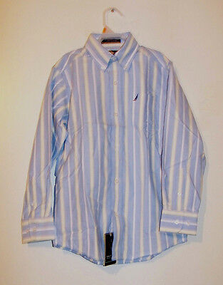 NEW!!! Boys Nautica Dress Button Down Shirt Blue w/ White & Yellow Stripes NWT!!