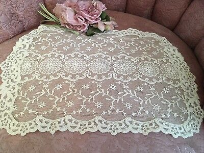 Antique Table Runner French Tambour Lace Cotton Nettting Needlework A34