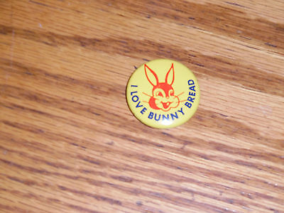 "Vintage 1960's Advertising "" I Love Bunny Bread "" Pinback Minty"