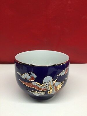 Vtg MCI Japanese Soy Sauce Small Bowl Pottery Dipping Sushi Ceramic Blue