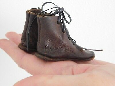 "Antique Salesman Sample Leather Mens Boots 3"" Marked by Maker 1880 - 1900 era"