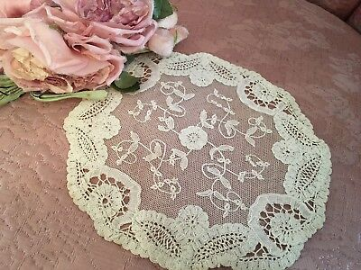 Antique French Tambour Lace Table Doily Cotton Netting Floral Needlework A36