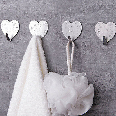 Heart Shape Stainless Steel Wall Door Mounted Suction Cup Hooks Coat Wall Hook F