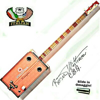 Cigar Box Guitar mod.Vegafina, 3 corde, pick-up piezoelettrico tasti medium.