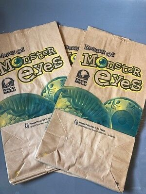 """Super Rare Vintage 1997 Taco Bell RETURN OF MONSTER EYES Paper Bags 11""""x6"""" Qty 5"""