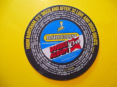 BEER Bar COASTER: Babycham Sparkling Perry ~ Disco Love Album ~ Somerset England