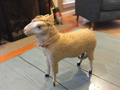 Large Putz Sheep Ribbons Rare Fly Away Ears Antique Stick Leg Germany Wooly 5""