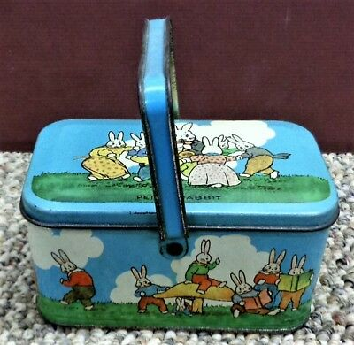 "Tindeco 1920's Peter Rabbit ""Lunchbox"" Style Easter Candy Tin Nice Condition2"