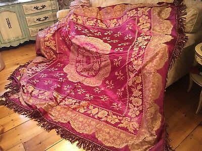 Antique Early French Victorian Bedspread Coverlet Silk Raspberry Fringe #F