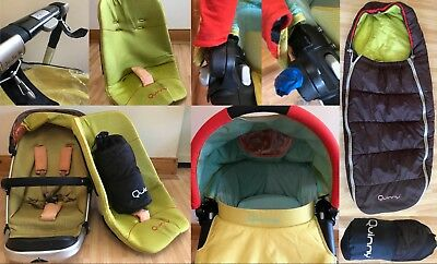 Quinny Travel System in lime green, brown and orange