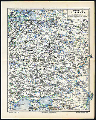 Antique Map-CENTRAL RUSSIA-RUSSIAN EMPIRE-Meyers-1902