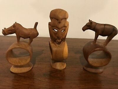 Set of 3 Vintage Hand Carved African Napkin Rings Mask, ? Zebra, Warthog