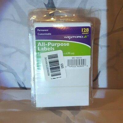 6 packs All-Purpose Labels 1 x 2.75 Inches White 128 each pack