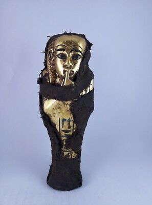 Rare ANCIENT EGYPTIAN Antique Egypt Statue USHABTI SHABTI Figure Gold Stone Bc