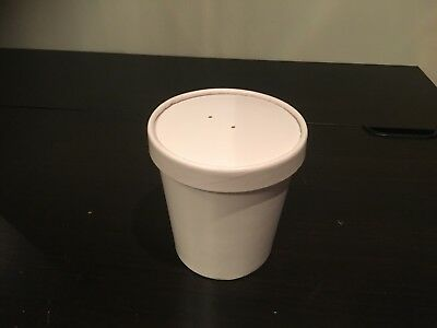 100 x 16oz White Soup Container and Lids Heavy Duty  (0613/5)