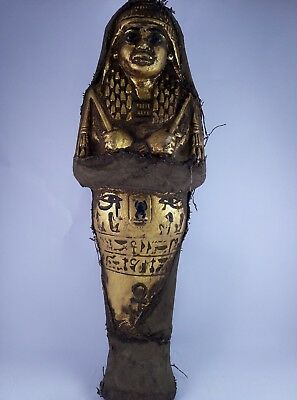 Rare Ancient Egyptian Antique USHABTI Shabti and EYE OF HOURS and SCARAB Gold Bc