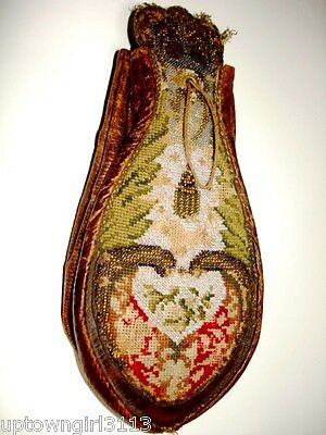 GAMING POUCH coinage French? MUSEUM 18thC-early19 SABLE BEAD concertina RARE