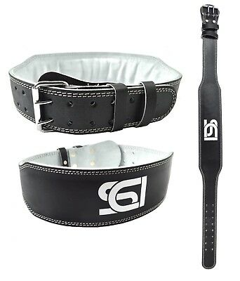 """Weight Lifting 4"""" Leather Belt Back Support Strap Gym Power Training Fitness"""