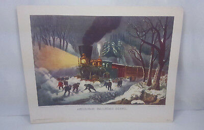 VINTAGE 1940s DONALD ART CO CURRIER & IVES AMERICAN RAILROAD SCENE PRINT 11X14
