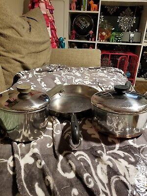 Vintage Revere Ware Pans Lot of 3 with lids