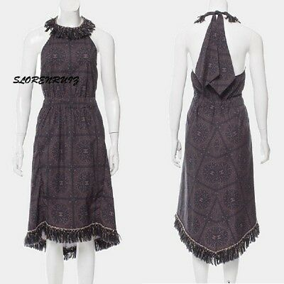 Most Wanted Chanel 14A Dallas Cc Bandana Lesage Fringe Halter Dress 36 34 New