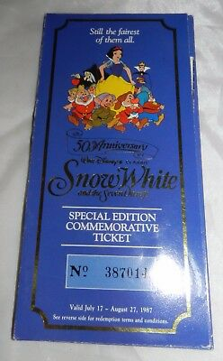 Vintage Snow White 50th Anniversary Commemorative Ticket and Medallion / Coin