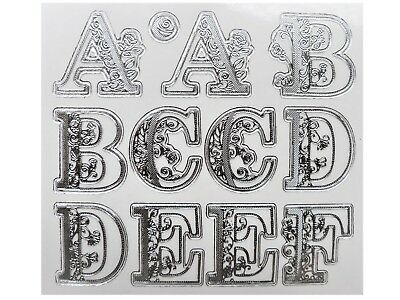 SILVER EMBOSSED FLOURISH ALPHABET LETTERS Peel Off Stickers Clear 25mm Filgree