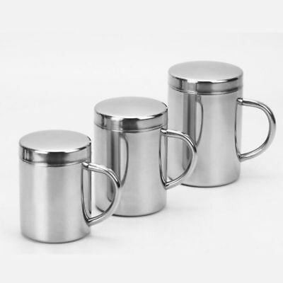 Double Insulate Mug With Lid Silver Stainless Steel 220/300/420ml  Thermal Cup