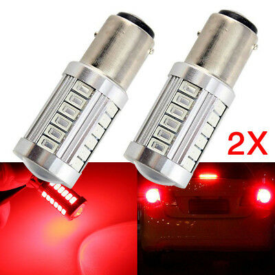 2X Bay15D 1157 P21/2.5W Red 5630 33 Led Brake Stop Tail Light Canbus Bulb Globe