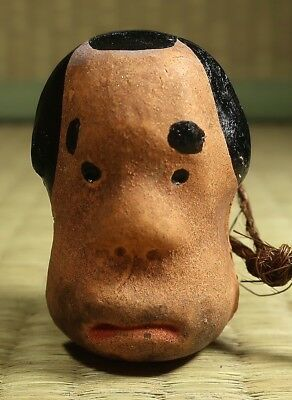 Small Ceramic Bell / Face Design / Japanese / Dated 1984
