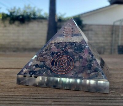 EXTRA LARGE (70-75mm) MULTI-TOURMALINE ORGONE GEMSTONE X-LARGE PYRAMID ORGONITE