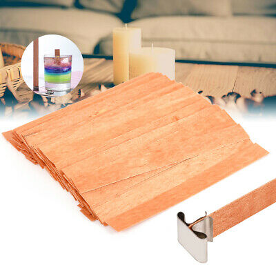 100Pcs Wood Wooden Candles Wicks Core w/ Iron Stand DIY Soap Making 13mmx130mm