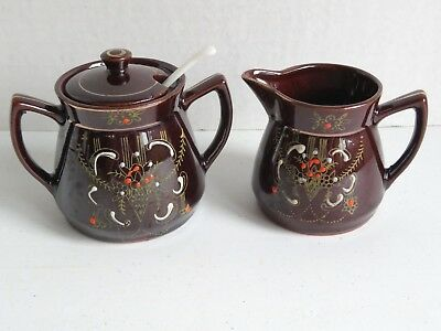 Vintage Japanese Redware Ceramic Brown Covered Sugar Bowl & Creamer with Flowers