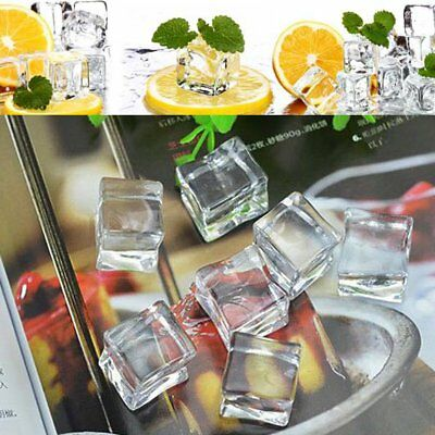 1/5/15/30x Artificial Acrylic Ice Cubes Crystal Clear Bar Display Dec 20/25/30mm