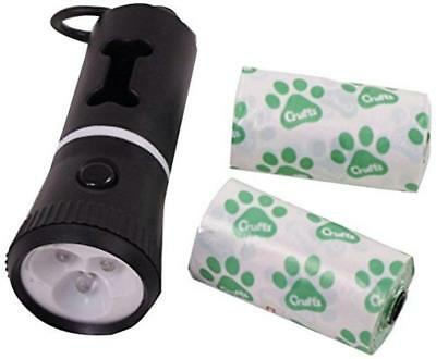 Crufts Led Torch With Doggy Poo Bag Holder & Spare Bags