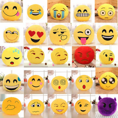 Cute 32cm Soft Emoji Smiley Emoticon Stuffed Plush Toy Doll Pillow Case Cover JB