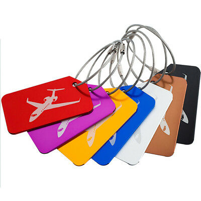 7pcs/pack Luggage Tags Aluminum Alloy Travel Suitcase Name Address ID Label New