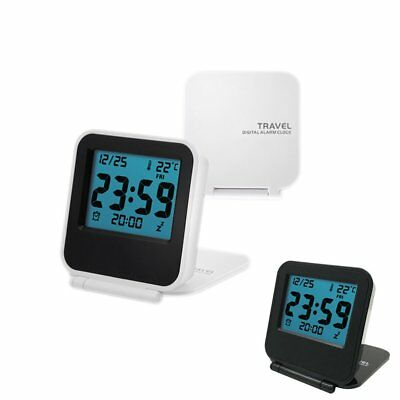 Pocket LCD Digital Travel Desk Alarm Clock Snooze Date Day Thermometer HE