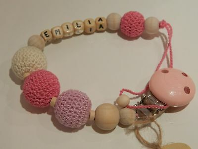 Personalised crochet wooden baby dummy clip / pacifier holder / personalized