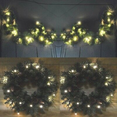 Xmas Large Luxury Door Wreath / Garland  Led Pre Lit Decorated Christmas Decor