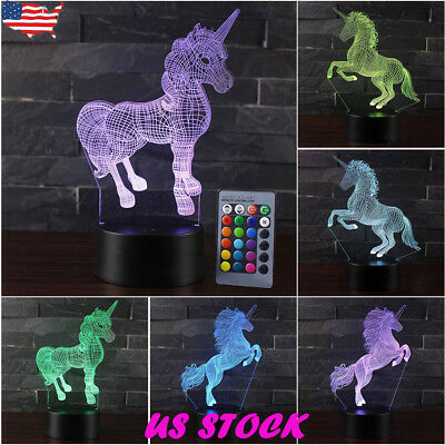 3D Unicorn LED Night Light 16 Color Change USB Touch Desk Table Lamp Home Deocr