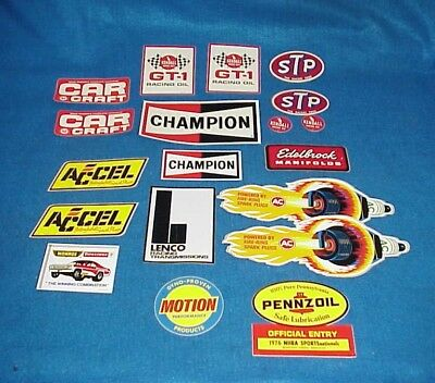 Lot Of Vintage Racing Race Decals Stp Champion Lenco Ac Accel Edelbrock Motion