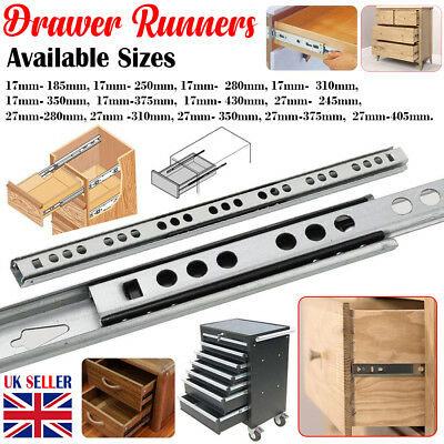 Pair Drawer Runners 17Mm Ball Bearing Metal Slides Kitchen Soft Close All Sizes