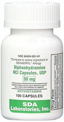 Diphenhydramine HCL [Compare to Benedryl] 50 mg, 100 Capsules