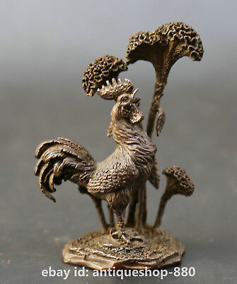 "3.9""Curio Chinese Pure Bronze Animal Chicken Cock Auspicious Rooster Statue 冠上加冠"