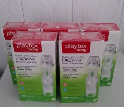 Playtex Drop-Ins Disposable Liners Baby Nurser 8-10 Ounce Lot of 5 Boxes 50 Each